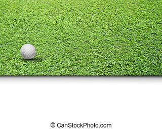 blanc vert, balle, golf, herbe