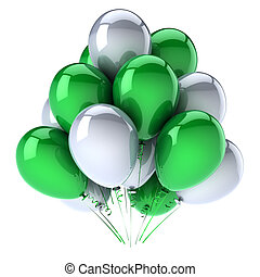blanc vert, ballons, hélium, tas