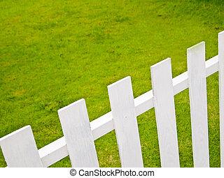 blanc, vert, barrière,  grass2