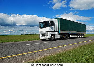 blanc, vert, camion, caravane