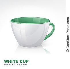 blanc, vert, elements., tasse