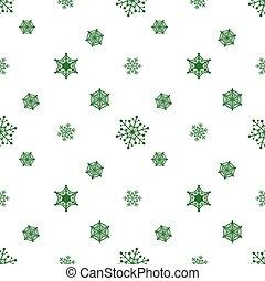 blanc, vert, flocon de neige, fond