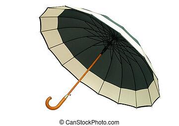 blanc vert, parapluie, fond