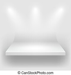 blanc, vide, étagère, arrondi