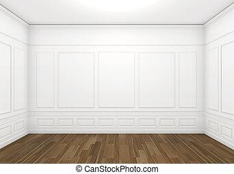 blanc, vide, classique, salle