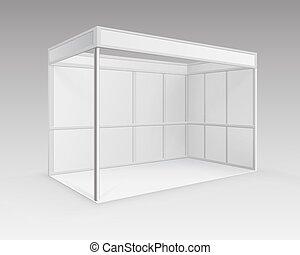 blanc, vide, intérieur, commercer, exposition, cabine, stand