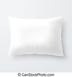 blanc, vide, oreiller, rectangulaire