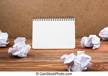 blanc, vide, papier, bloc-notes, livre, à, bureau, worplace., espace copy