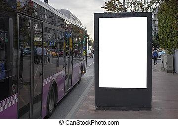 blanc, vide, roadside., rectangulaire, panneau affichage