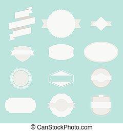 blanc, vide, set., étiquettes