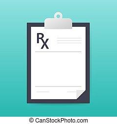 blanc, vide, vecteur, prescription, rx, isolé, arrière-plan., illustration., formulaire, stockage