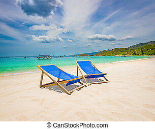 blanc, vietnam, sable, plage.