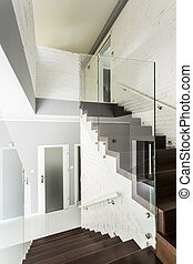 blanc, villa, escalier, idée