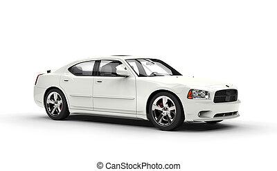 blanc, voiture, vue côté