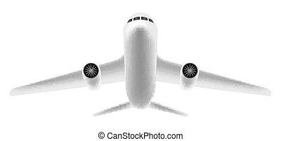 blanc, voler, avion, fond