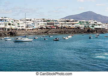 Blanca, isla, canario,  Lanzarote, españa, pesca,  playa, barcos