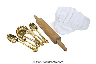 blanche de toque, con, un, rodillo, y, goldware