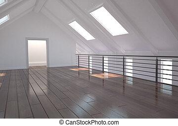 blanche salle, à, porte ouverte