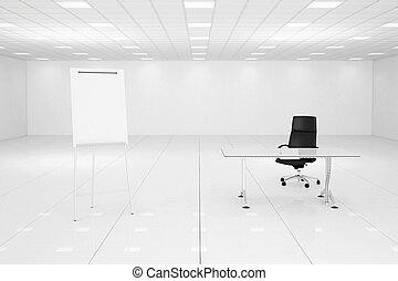 blanche salle, bureau, flipchart