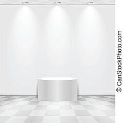 blanche salle, rond, étape