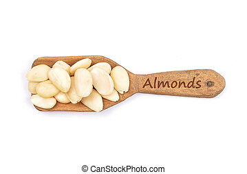 Blanched almonds on shovel