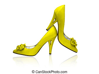 blanches chaussures, fond, femmes