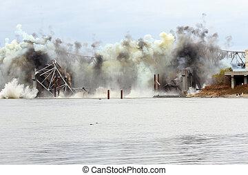 Blanchette Bridge Demolition over Missouri River - December...