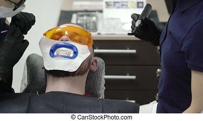 blanchir, dentiste, patient, dents
