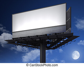 blanck billboard at night - Big empty billboard ready for...