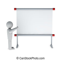 blanck whiteboard - One 3d man pointing to a whiteboard