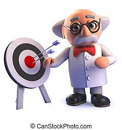 blanco, él, científico, profesor, posición, caricatura, ...