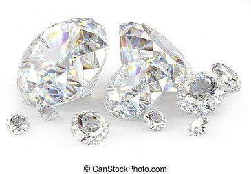 blanco, 3d, diamantes