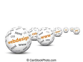 blanco, 3d, esferas, con, trazar un mapa de, webdesign,...
