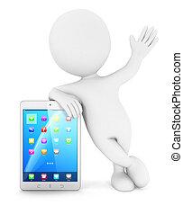 blanco,  3D, tableta, gente
