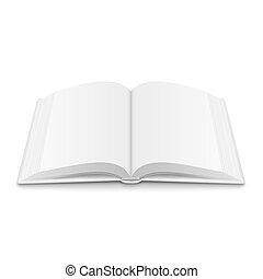 blanco, abierto, libro, plantilla, con, suave, shadows.
