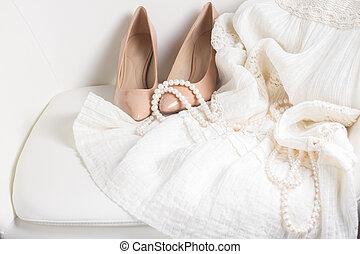 blanco, accesorios, hembra