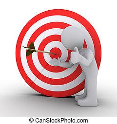 blanco, actuación, satisfecho, persona, flecha, centro