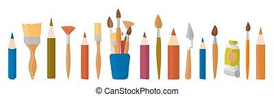 blanco, acuarela, dibujo, pintura, aislado, paleta, pinturas, pencils., espátula, herramientas, tubo, aceite, fondo.