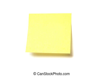 blanco, aislado, amarillo, post-it