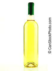 blanco, aislado, botella, vino