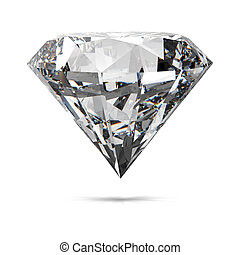 blanco, aislado, diamantes