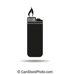 blanco, aislado, fondo., lighter., icon., smoking., su, design.