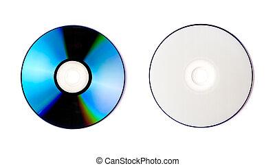 blanco, aislado, plano de fondo, cd