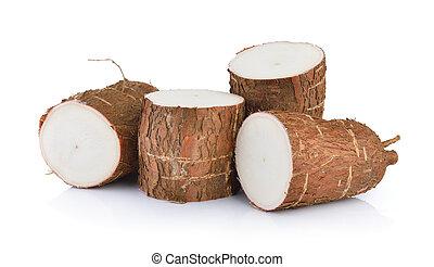 blanco, aislado, plano de fondo, mandioca