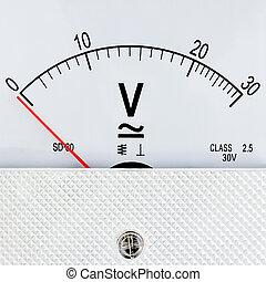 blanco, aislado, plano de fondo, voltímetro