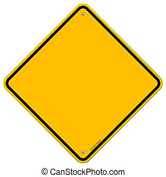 blanco, aislado, signo amarillo