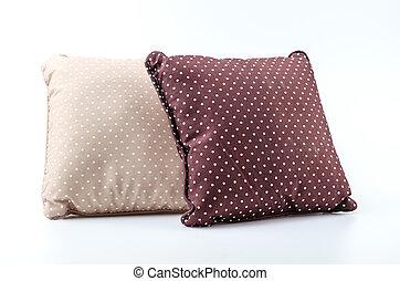 blanco, almohada, plano de fondo, aislado