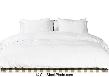 blanco, almohadas, y, manta, en, un, cama