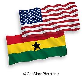 blanco, américa, plano de fondo, banderas, ghana