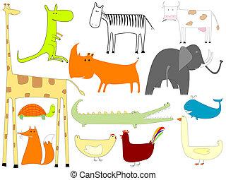 blanco, animales, aislado, plano de fondo, dibujo